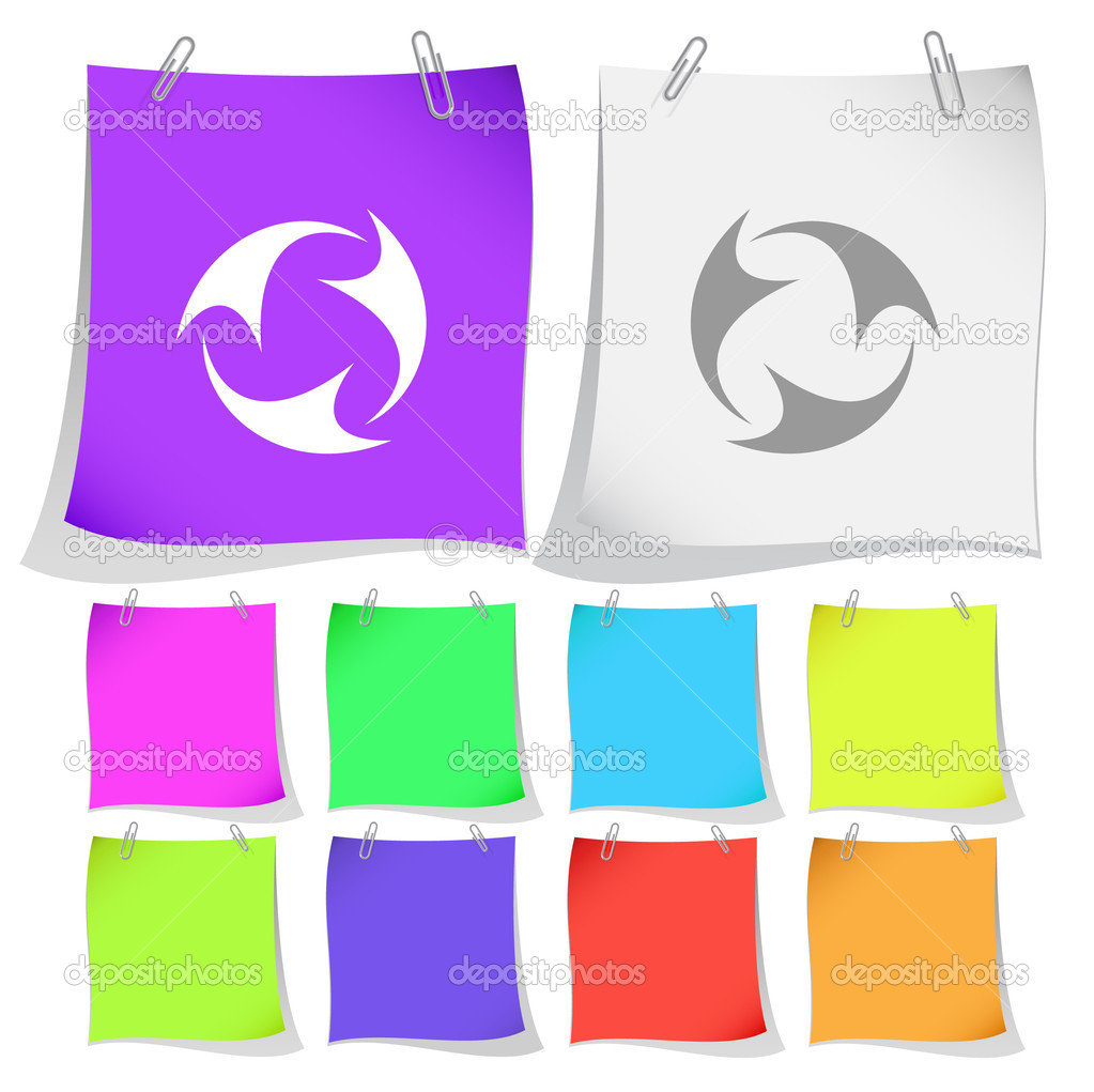 Abstract recycle symbol. Vector note papers. — Stock Vector #6759072