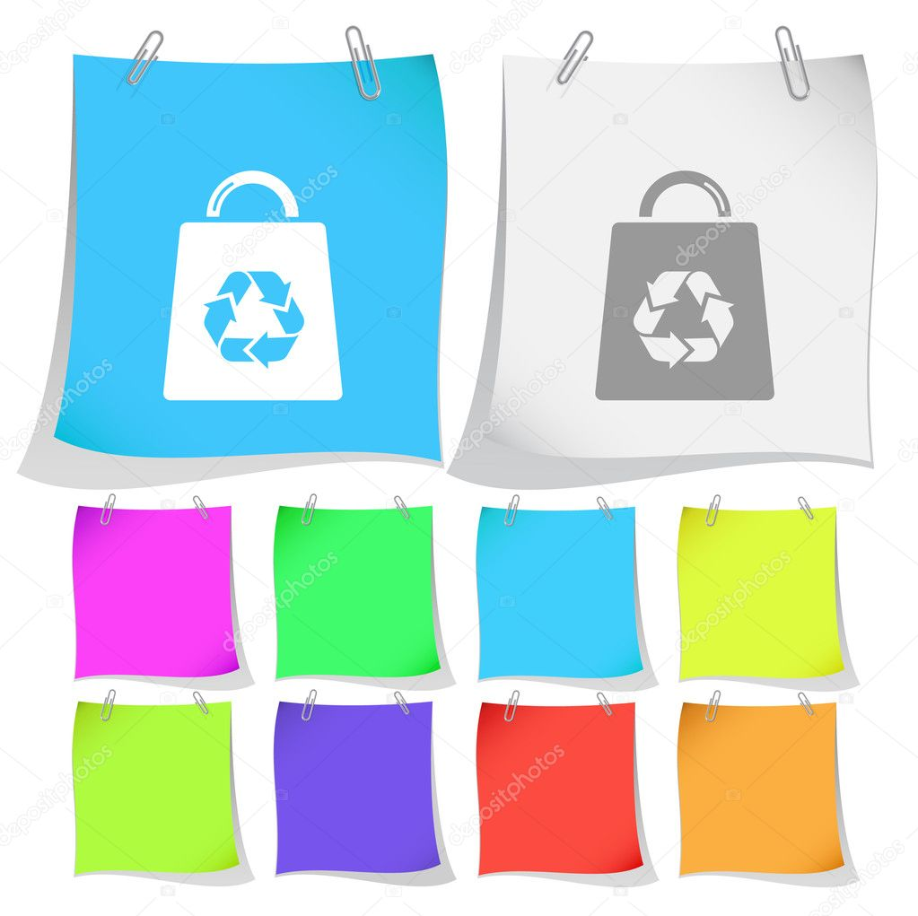 Bag with recycle symbol. Vector note papers. — Stock Vector #6759075