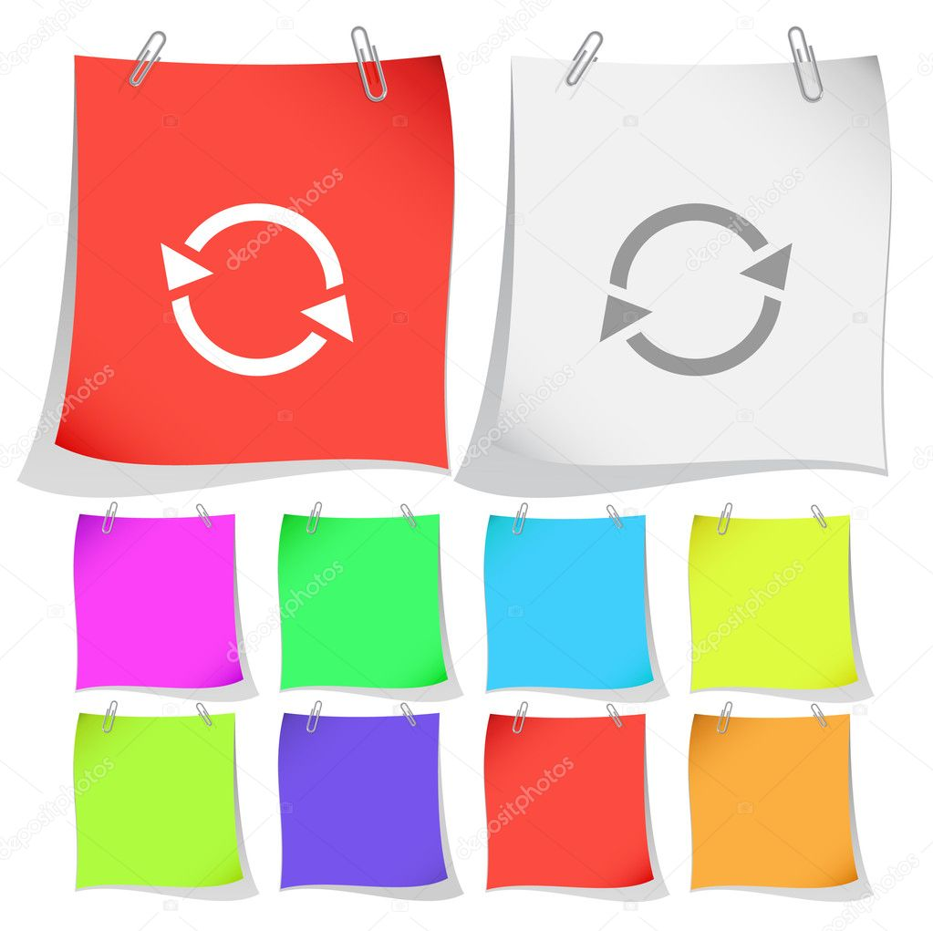 Recycle symbol. Vector note papers. — Stock Vector #6759085