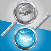 Car. Vector magnifying glass. — Stock Vector