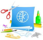 Globe and clock — Stock Vector