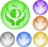 Jabłko w ręce — Wektor stockowy