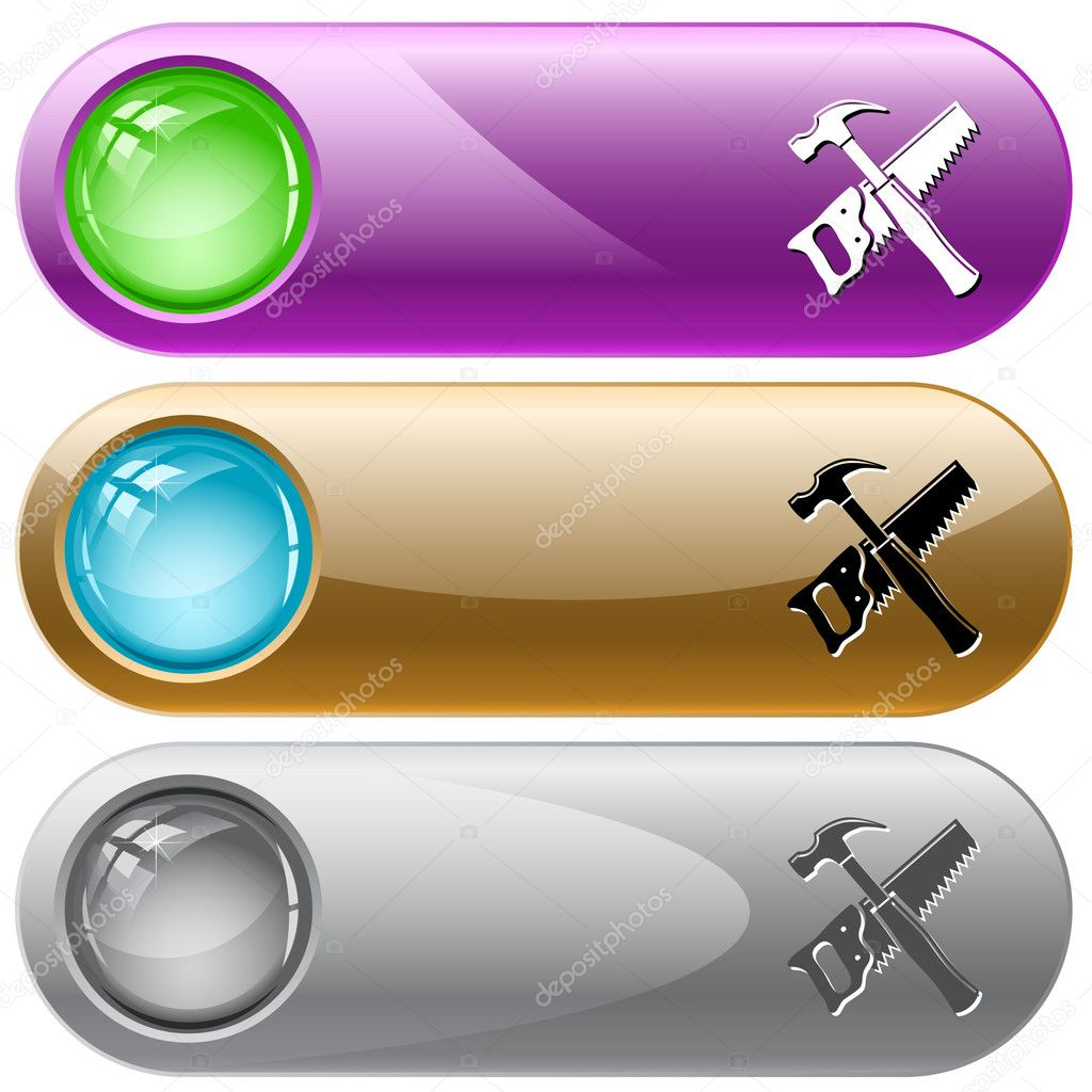 Hand saw and hammer. Vector internet buttons.  Stock Vector #6831690