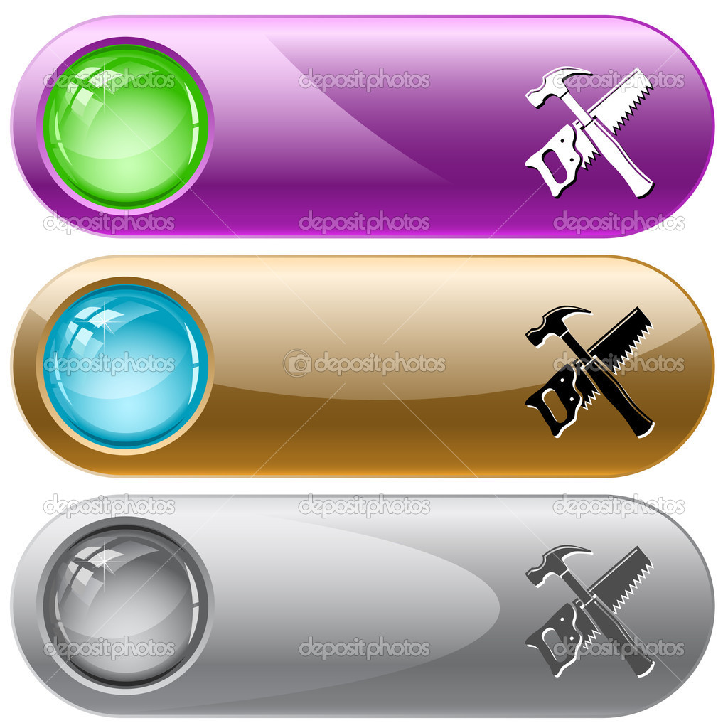 Hand saw and hammer. Vector internet buttons. — Imagen vectorial #6831690