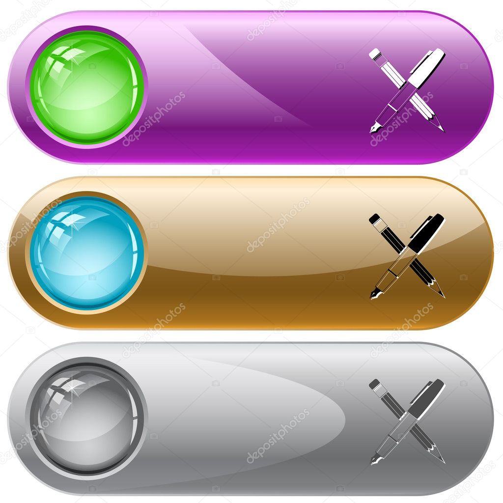 Ink pen and pencil. Vector internet buttons. — Stock Vector #6831705