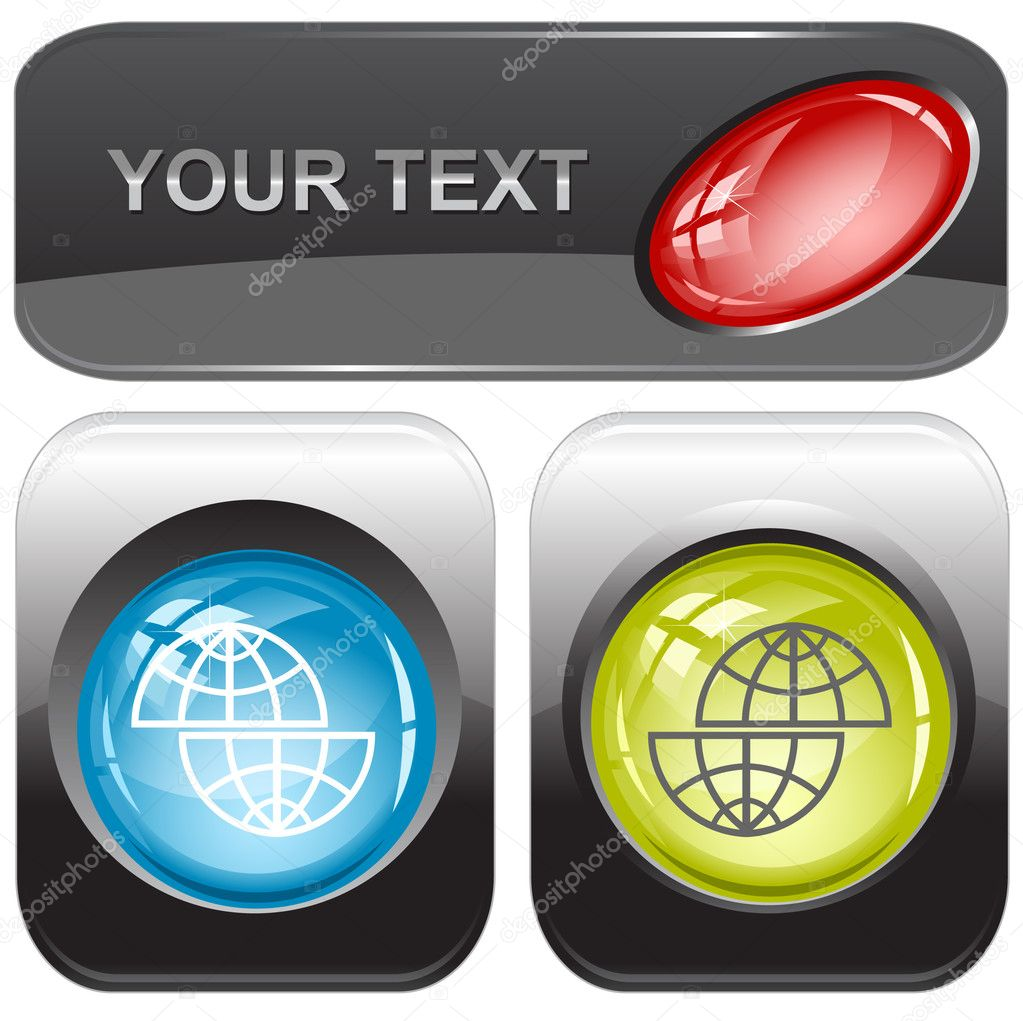 Shift globe. Vector internet buttons. — Stock Vector #6831708