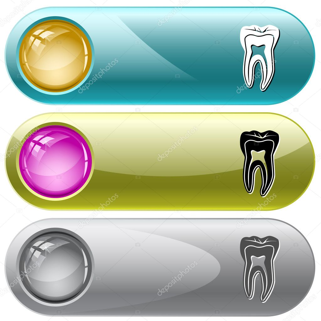 Tooth. Vector internet buttons. — Stock Vector #6831719