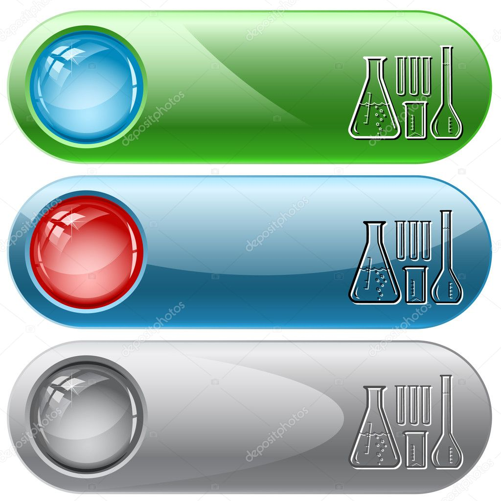 Chemical test tubes. Vector internet buttons. — Stock Vector #6831760