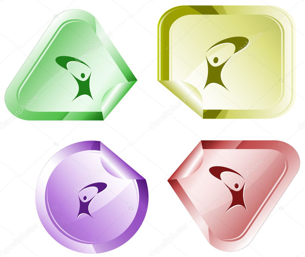 Little man. Vector sticker. — Stock Vector #6831951