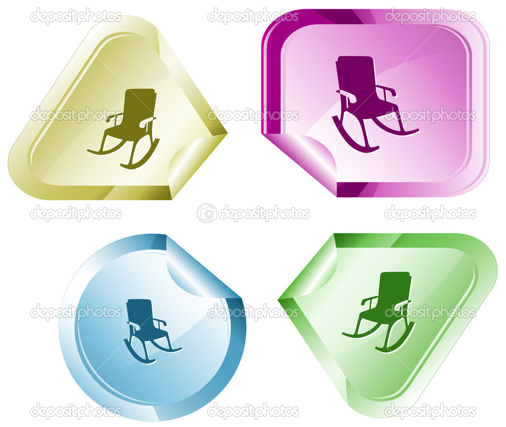 Armchair. Vector sticker.  Stock Vector #6832066