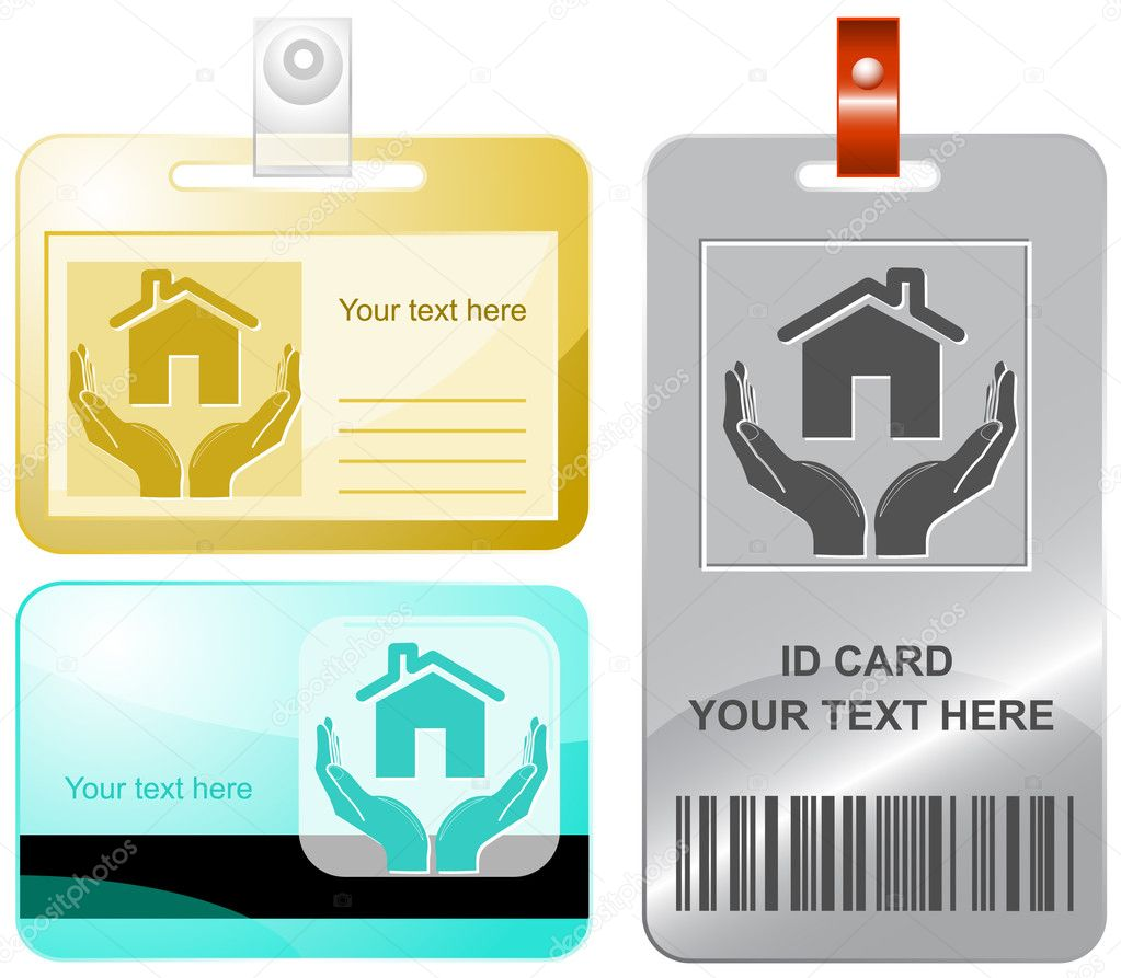 Home in hands. Vector id cards. — Stock Vector #6832067