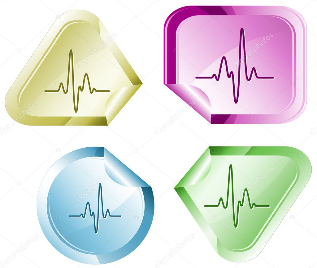 Cardiogram. Vector sticker.  Stock Vector #6832247