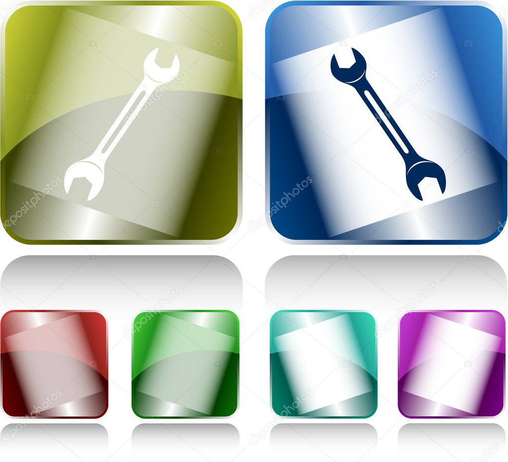 Spanner. Internet buttons. Raster illustration. — Image vectorielle #6833315
