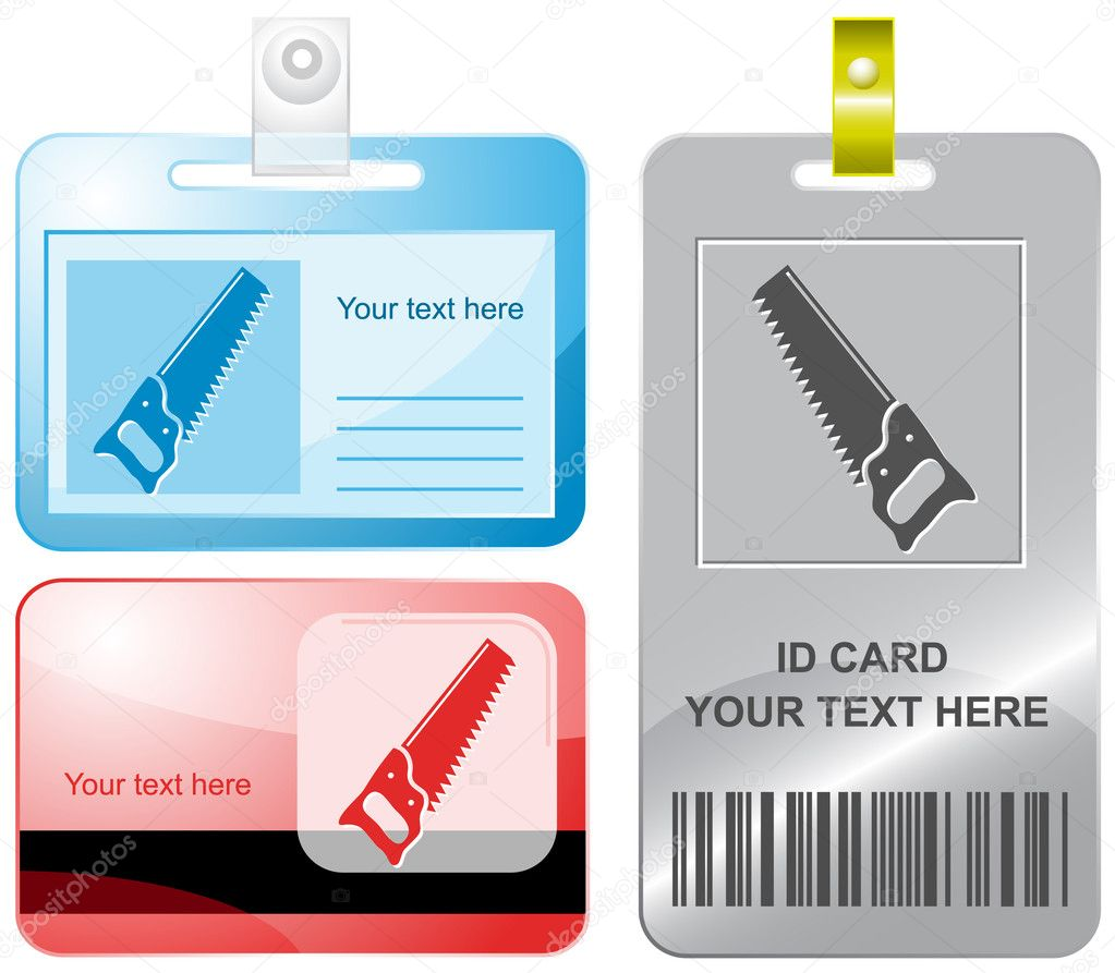 Hand saw. Vector id cards. — Stock Vector #6833379