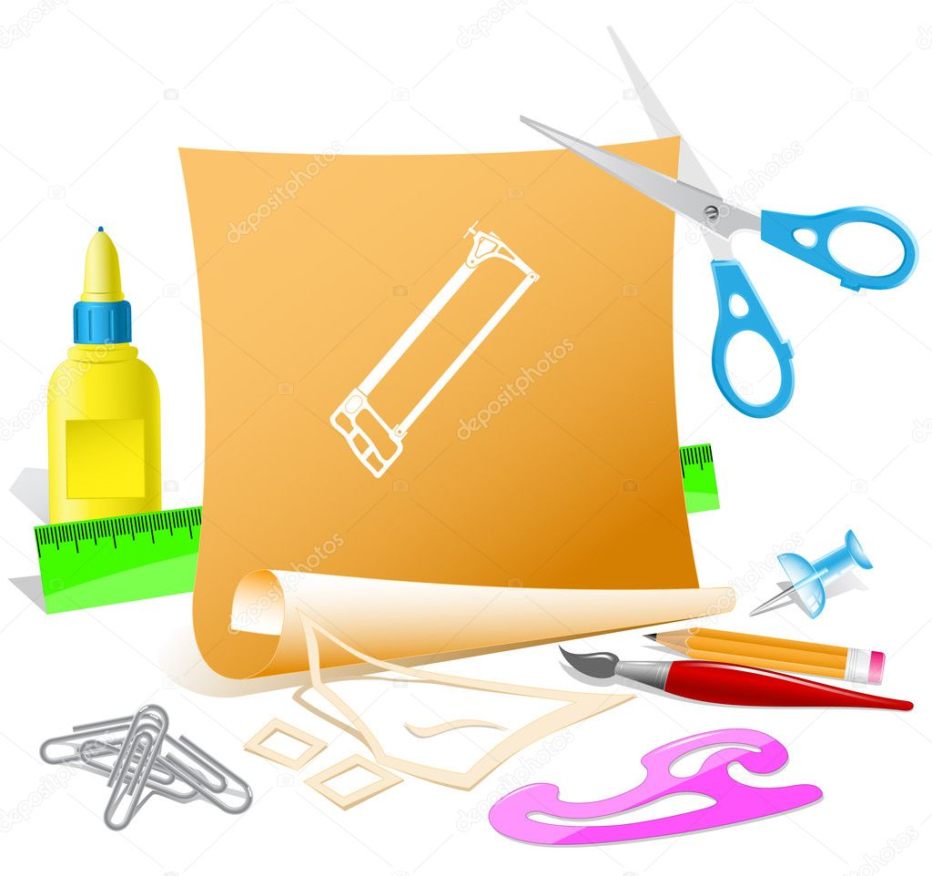 Hacksaw. Paper template. Raster illustration. — Imagen vectorial #6833592