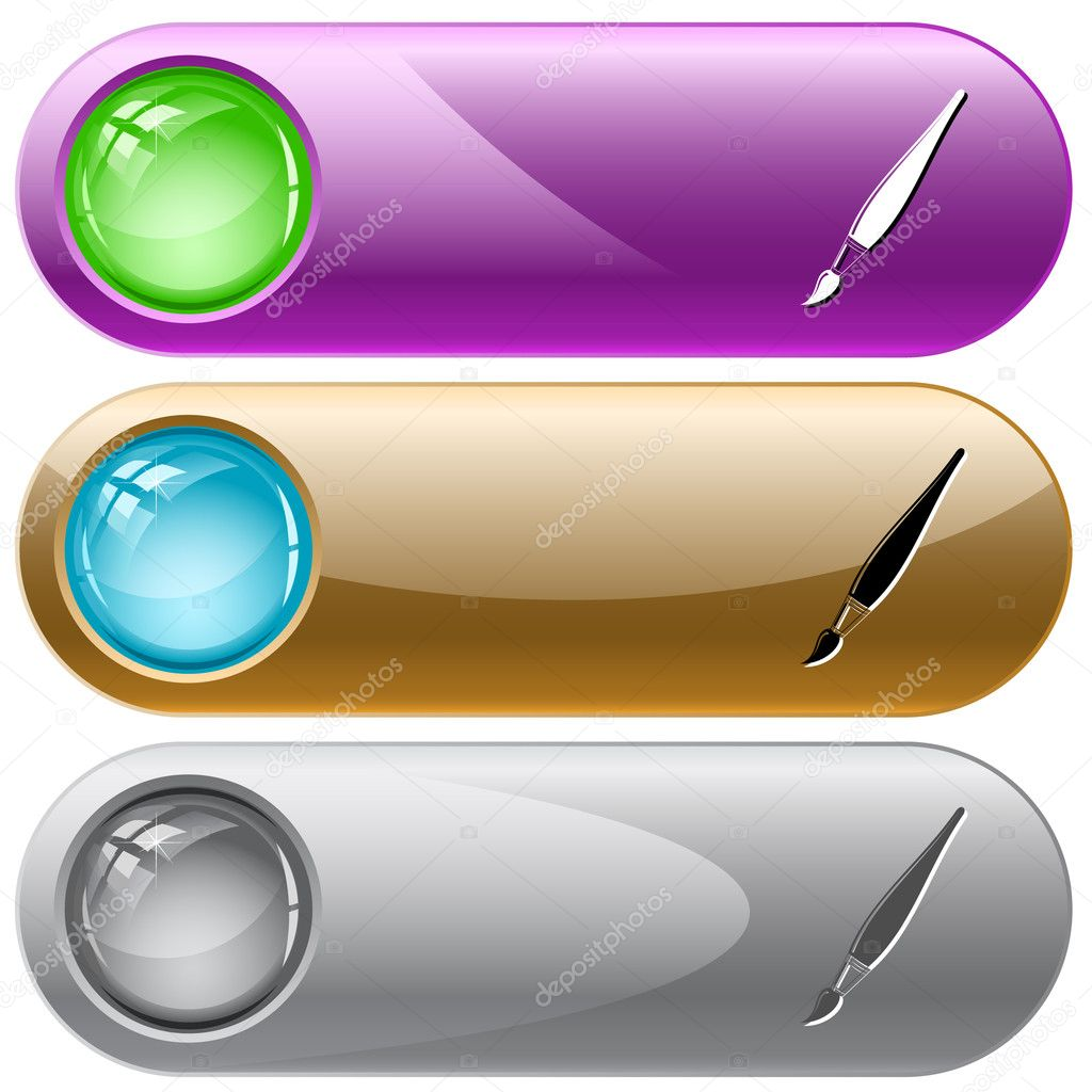 Brush. Vector internet buttons.  Stock Vector #6833711
