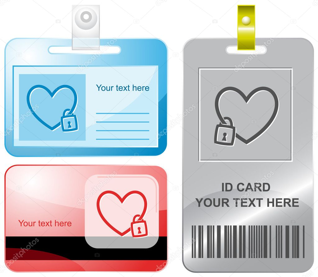 Closed heart. Vector id cards. — Stock Vector #6834252