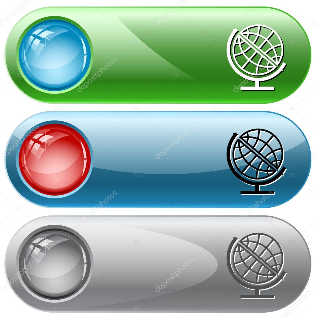 Globe. Vector internet buttons. — Stock Vector #6834266