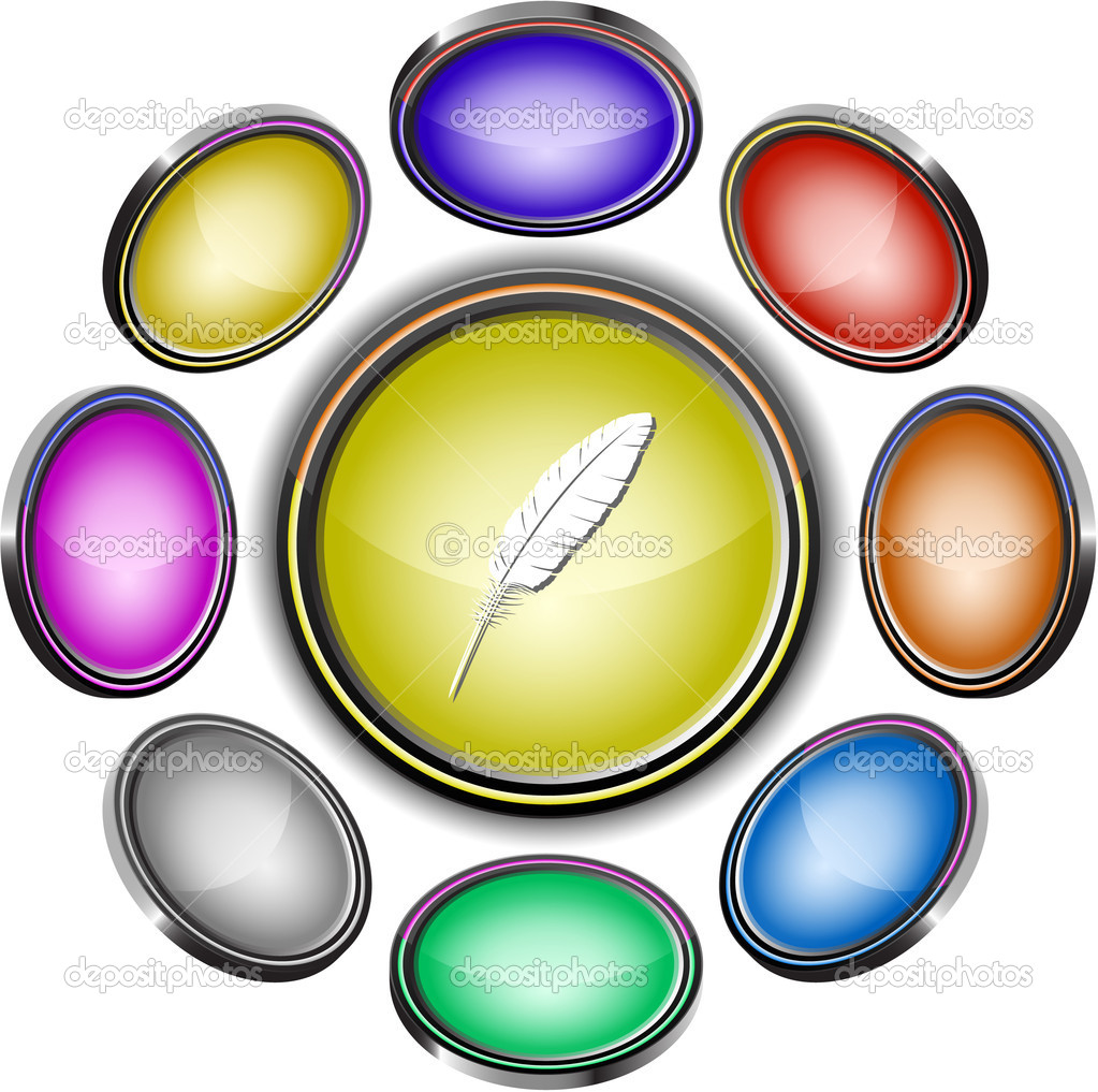 Feather. Vector internet buttons. 8 different projections.  Stock Vector #6834424
