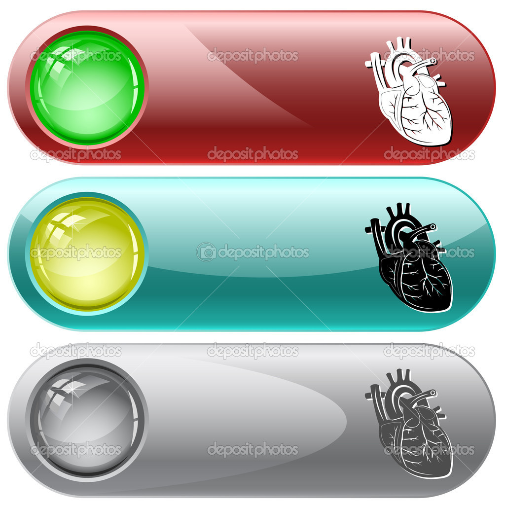 Heart. Vector internet buttons. — Stock Vector #6834429