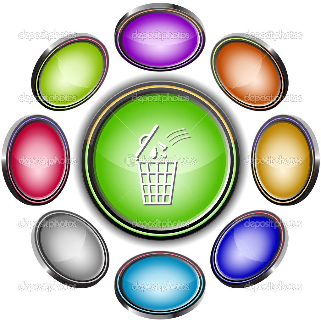 Bin. Vector internet buttons. 8 different projections. — Stock Vector #6834556