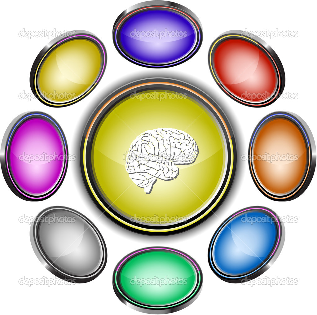 Brain. Vector internet buttons. 8 different projections. — Stock Vector #6834603