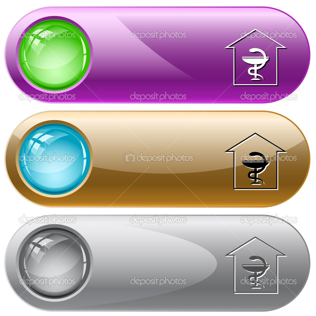 Pharmacy. Vector internet buttons. — Stock Vector #6834666