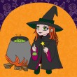 Little witch makes potion(orange background) — Stock Vector