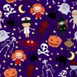 Halloween characters seamless pattern — Stock Vector #7132477