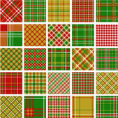 Big set of christmas plaid patterns — 图库照片