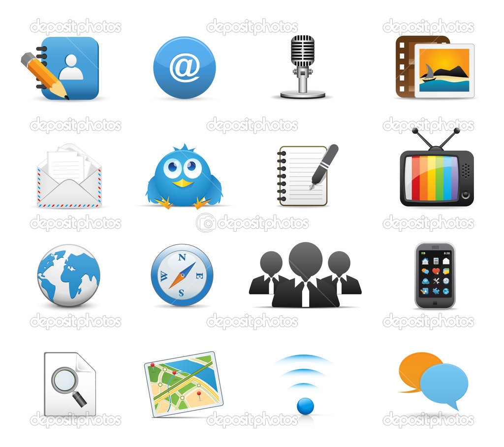 Icons Set for Web Applications, Internet & Website icons, Universal Social Media Icons - Vector icons — Stock Vector #7132726