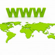 WWW World Map Globe - Stockfoto