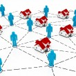 Real Estate Market, blue and red house network — Stock Photo