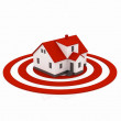 Illustration of a house in the center of a red target — Stock Photo