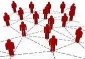 Zakelijke team netwerk rode kleur — Stockfoto