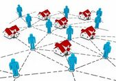 Real Estate Market, blue and red house network — Foto de Stock