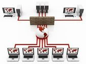 Red Computer Global network connecting the Internet — Stock Photo