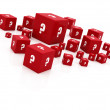"Red ""question mark"" cubes falling — Stockfoto"