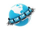 Global blauwe computernetwerk — Stockfoto