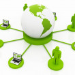 Stock Photo: Global Computer Network green