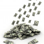 Falling Money dollars — Stock Photo