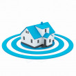 Illustration of a house in the center of a blue target — Stock Photo