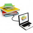 Stock Photo: Internet Library Concept, Laptop Control