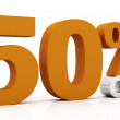 50 percent off, orange color — Stock Photo