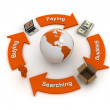 Global business flow, orange color - Stock Photo