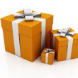 Gifts, orange color - Stock Photo