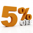 5 percent off, orange color — Stock Photo