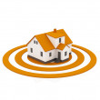 Illustration of a house in the center of a orange target — Stock Photo