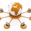 Stock Photo: Global Computer Network orange