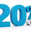 Stock Photo: 20 Percent off blue color